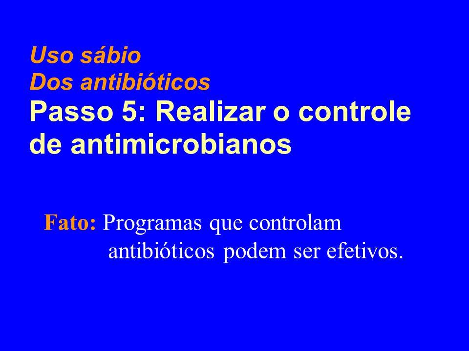 Fato: Programas que controlam antibióticos podem ser efetivos. Uso sábio Dos antibióticos Passo 5: Realizar o controle de antimicrobianos