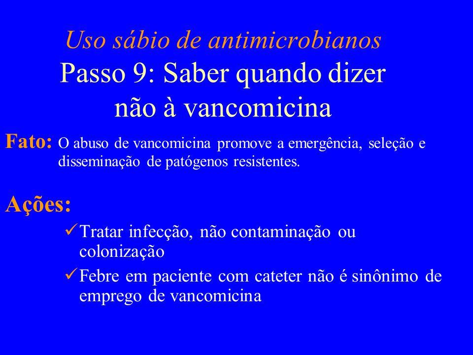 Uso sábio de antimicrobianos Passo 9: Saber quando dizer não à vancomicina Fato: O abuso de vancomicina promove a emergência, seleção e disseminação d