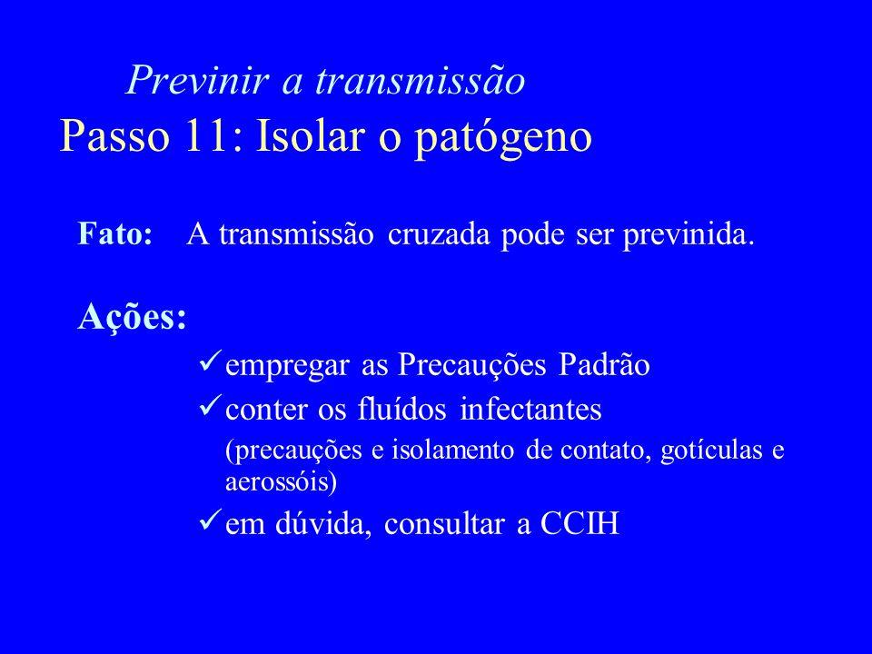Previnir a transmissão Passo 11: Isolar o patógeno Fato:A transmissão cruzada pode ser previnida. Ações: empregar as Precauções Padrão conter os fluíd