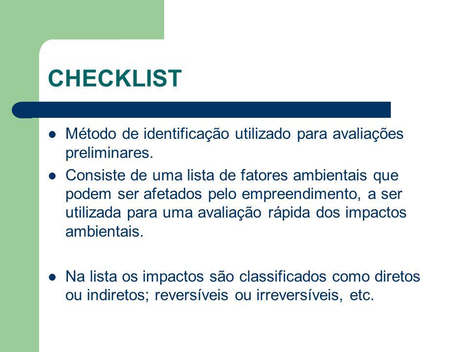 CHECKLIST Método de identificação utilizado para avaliações preliminares. Consiste de uma lista de fatores ambientais que podem ser afetados pelo empr