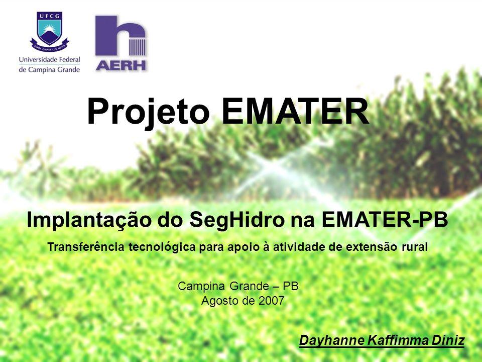 Implantação do SegHidro na EMATER-PB Transferência tecnológica para apoio à atividade de extensão rural Projeto EMATER Dayhanne Kaffimma Diniz Campina