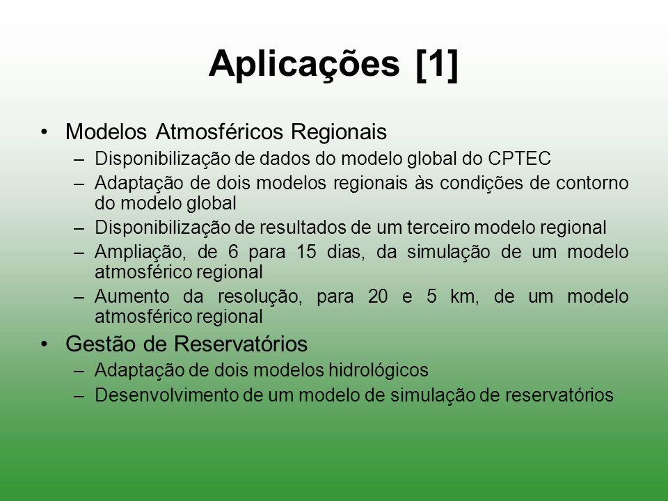 Aplicações [1] Modelos Atmosféricos Regionais –Disponibilização de dados do modelo global do CPTEC –Adaptação de dois modelos regionais às condições d