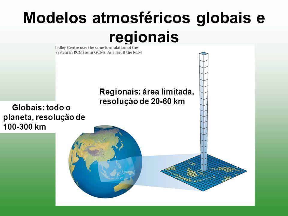 Modelos atmosféricos globais e regionais Globais: todo o planeta, resolução de 100-300 km Regionais: área limitada, resolução de 20-60 km