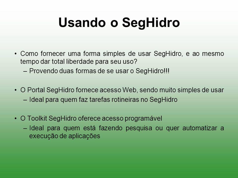 Usando o SegHidro Como fornecer uma forma simples de usar SegHidro, e ao mesmo tempo dar total liberdade para seu uso? –Provendo duas formas de se usa