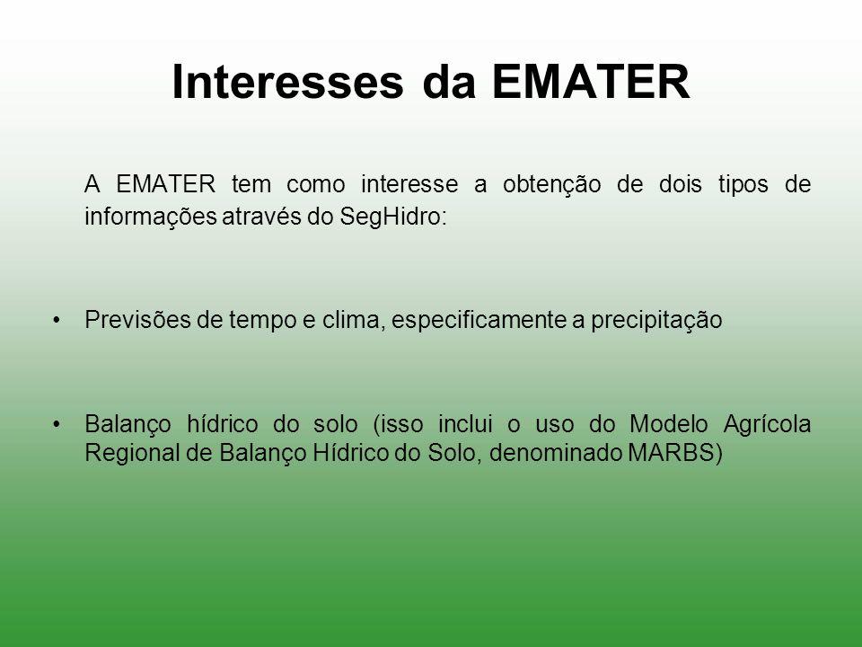 Interesses da EMATER A EMATER tem como interesse a obtenção de dois tipos de informações através do SegHidro: Previsões de tempo e clima, especificame