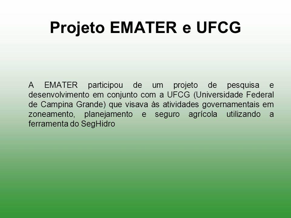 Projeto EMATER e UFCG A EMATER participou de um projeto de pesquisa e desenvolvimento em conjunto com a UFCG (Universidade Federal de Campina Grande)