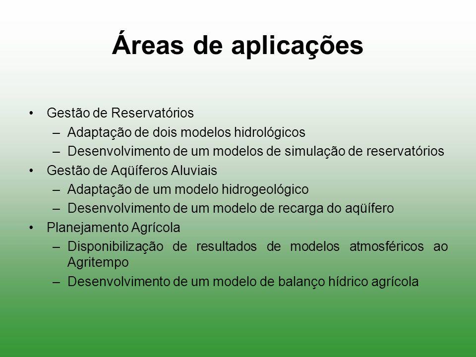 Áreas de aplicações Gestão de Reservatórios –Adaptação de dois modelos hidrológicos –Desenvolvimento de um modelos de simulação de reservatórios Gestã
