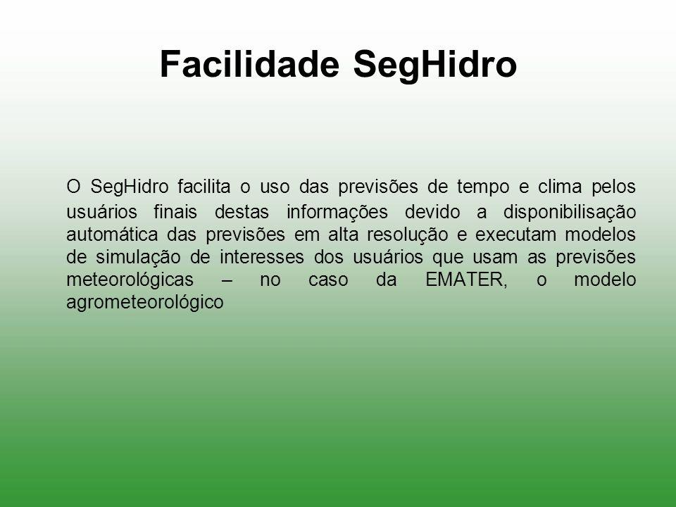 Facilidade SegHidro O SegHidro facilita o uso das previsões de tempo e clima pelos usuários finais destas informações devido a disponibilisação automá