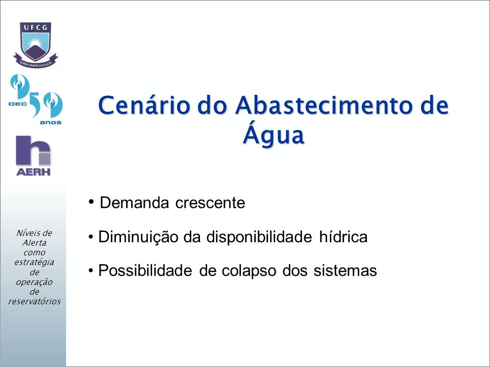 Cenário do Abastecimento de Água Demanda crescente Diminuição da disponibilidade hídrica Possibilidade de colapso dos sistemas Níveis de Alerta como estratégia de operação de reservatórios