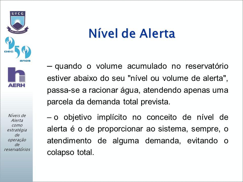 Nível de Alerta – quando o volume acumulado no reservatório estiver abaixo do seu nível ou volume de alerta , passa-se a racionar água, atendendo apenas uma parcela da demanda total prevista.