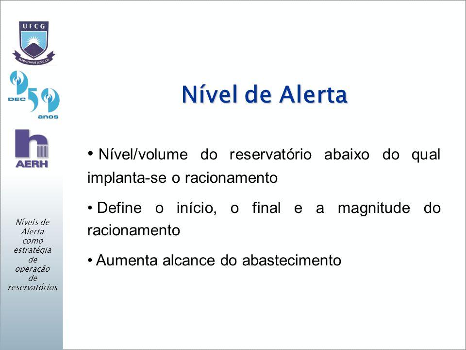 Nível de Alerta Nível/volume do reservatório abaixo do qual implanta-se o racionamento Define o início, o final e a magnitude do racionamento Aumenta