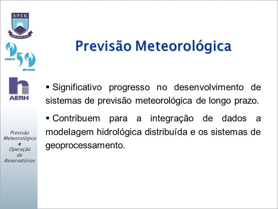 Previsão Meteorológica x Operação de Reservatórios Previsão Meteorológica Significativo progresso no desenvolvimento de sistemas de previsão meteorológica de longo prazo.