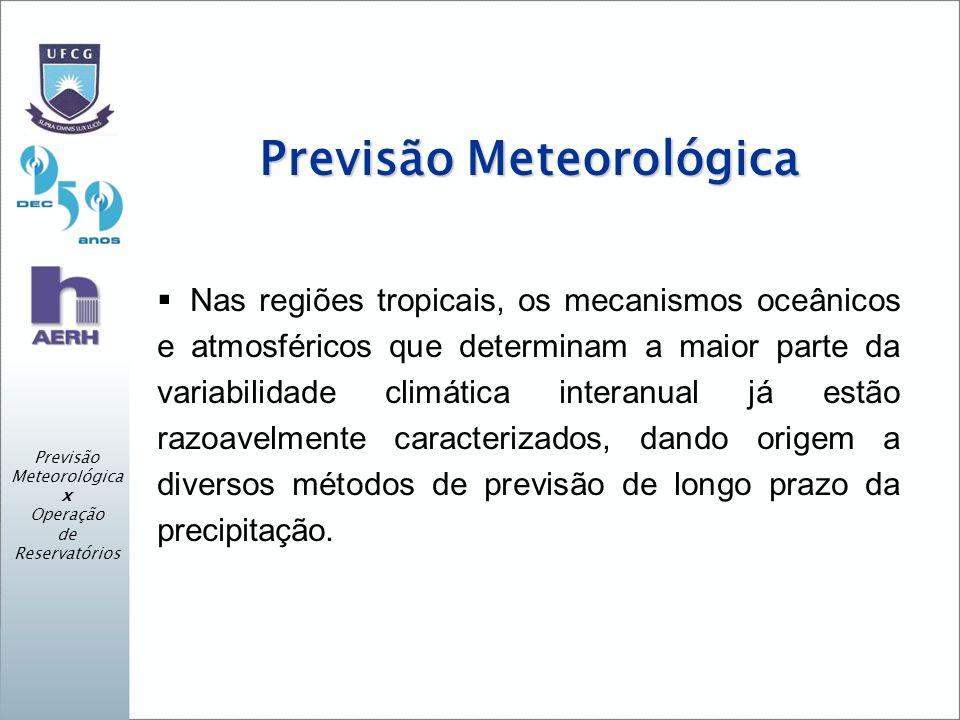 Previsão Meteorológica Nas regiões tropicais, os mecanismos oceânicos e atmosféricos que determinam a maior parte da variabilidade climática interanual já estão razoavelmente caracterizados, dando origem a diversos métodos de previsão de longo prazo da precipitação.