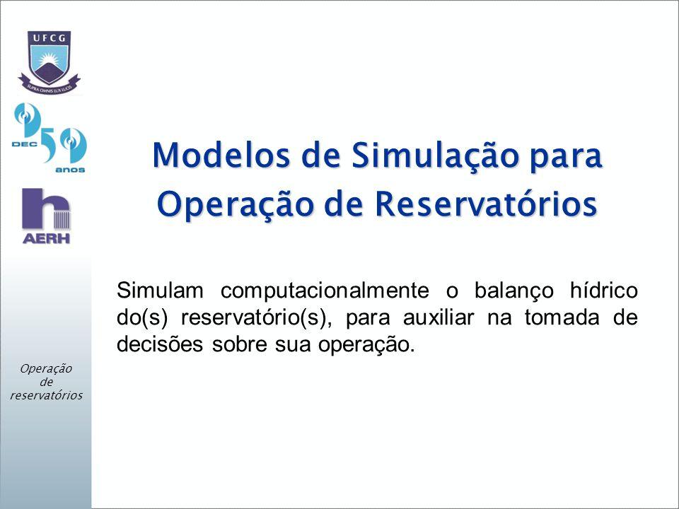 Modelos de Simulação para Operação de Reservatórios Simulam computacionalmente o balanço hídrico do(s) reservatório(s), para auxiliar na tomada de decisões sobre sua operação.