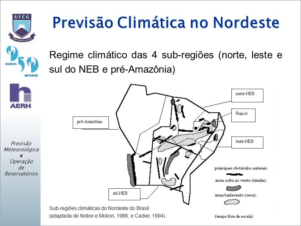 Previsão Climática no Nordeste Regime climático das 4 sub-regiões (norte, leste e sul do NEB e pré-Amazônia) Previsão Meteorológica x Operação de Reservatórios Sub-regiões climáticas do Nordeste do Brasil (adaptada de Nobre e Molion, 1988, e Cadier, 1994).