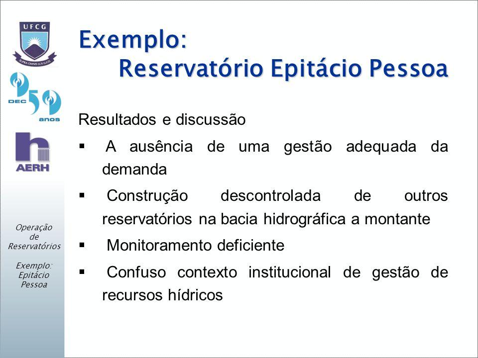 Exemplo: Reservatório Epitácio Pessoa Resultados e discussão A ausência de uma gestão adequada da demanda Construção descontrolada de outros reservató