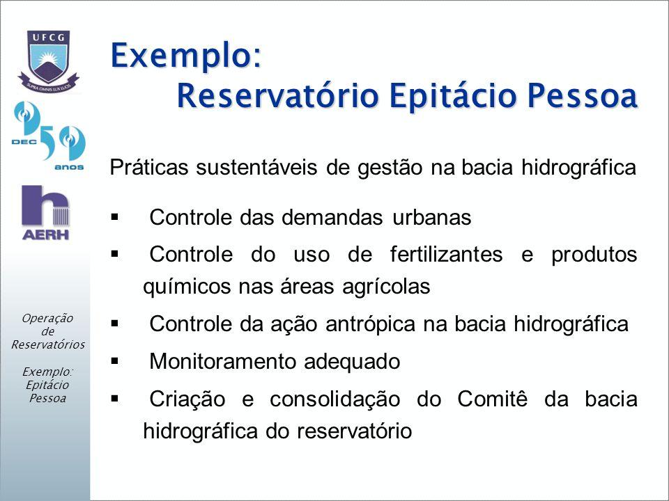 Exemplo: Reservatório Epitácio Pessoa Práticas sustentáveis de gestão na bacia hidrográfica Controle das demandas urbanas Controle do uso de fertiliza