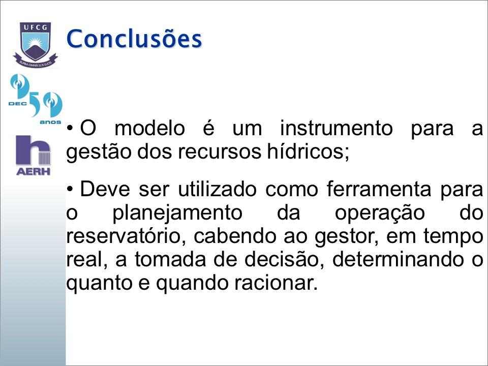 Conclusões O modelo é um instrumento para a gestão dos recursos hídricos; Deve ser utilizado como ferramenta para o planejamento da operação do reservatório, cabendo ao gestor, em tempo real, a tomada de decisão, determinando o quanto e quando racionar.