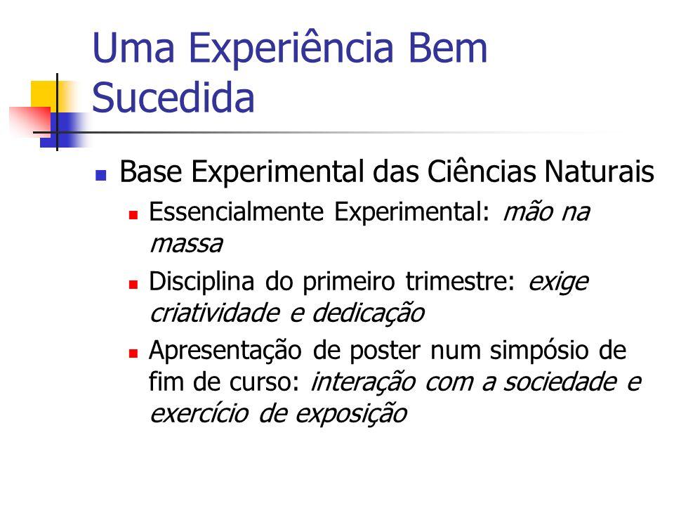 Uma Experiência Bem Sucedida Base Experimental das Ciências Naturais Essencialmente Experimental: mão na massa Disciplina do primeiro trimestre: exige