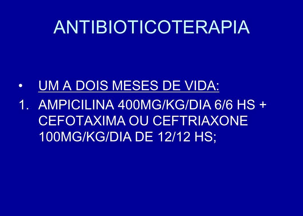 ANTIBIOTICOTERAPIA UM A DOIS MESES DE VIDA: AMPICILINA 400MG/KG/DIA 6/6 HS + CEFOTAXIMA OU CEFTRIAXONE 100MG/KG/DIA DE 12/12 HS;