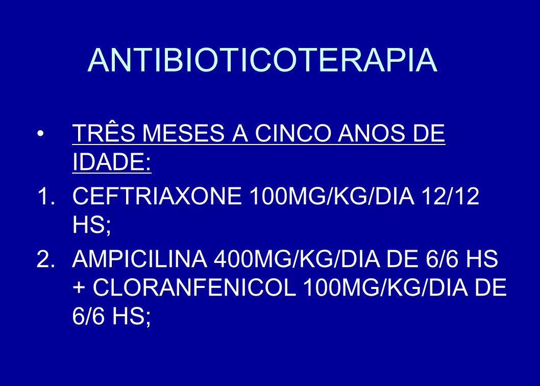 ANTIBIOTICOTERAPIA TRÊS MESES A CINCO ANOS DE IDADE: CEFTRIAXONE 100MG/KG/DIA 12/12 HS; AMPICILINA 400MG/KG/DIA DE 6/6 HS + CLORANFENICOL 100MG/KG/DIA