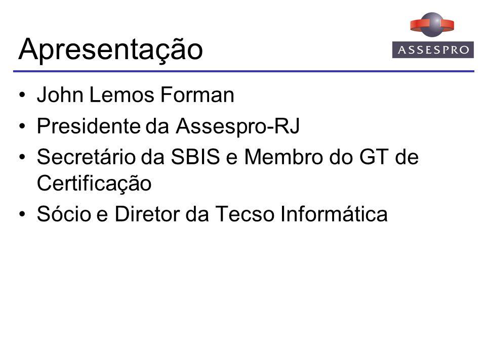 Apresentação Associação das Empresas Brasileiras de Tecnologia da Informação, Software e Internet Entidade sem fins lucrativos Representação de empresas nacionais de software e prestadores de serviços de informática Mais de 1000 empresas associadas Fundada em 23 de junho de 1976