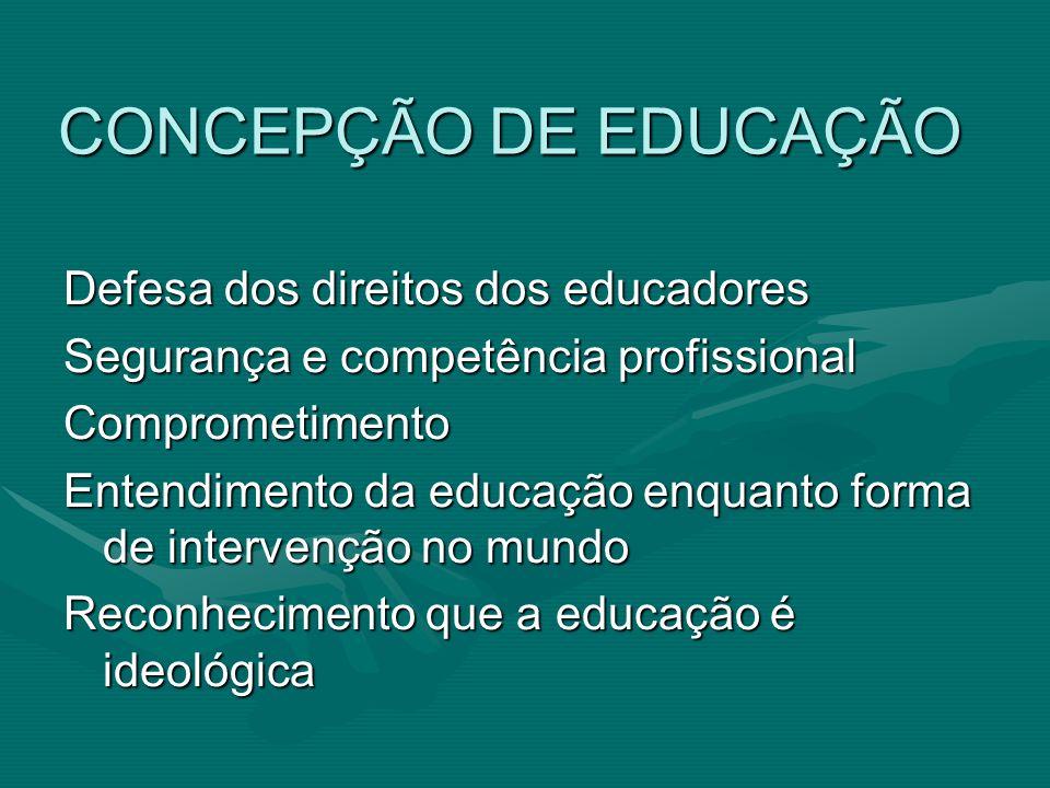 CONCEPÇÃO DE EDUCAÇÃO Defesa dos direitos dos educadores Segurança e competência profissional Comprometimento Entendimento da educação enquanto forma