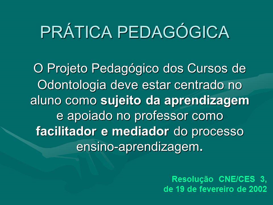 PRÁTICA PEDAGÓGICA O Projeto Pedagógico dos Cursos de Odontologia deve estar centrado no aluno como sujeito da aprendizagem e apoiado no professor com