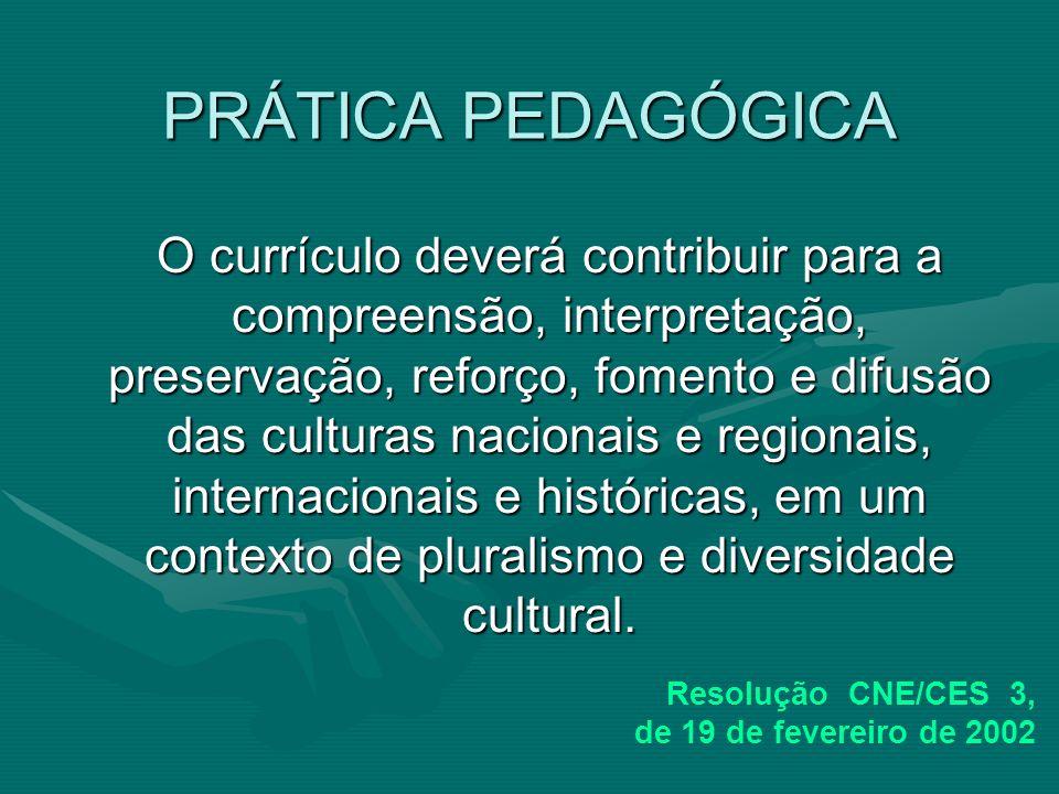 PRÁTICA PEDAGÓGICA O currículo deverá contribuir para a compreensão, interpretação, preservação, reforço, fomento e difusão das culturas nacionais e r