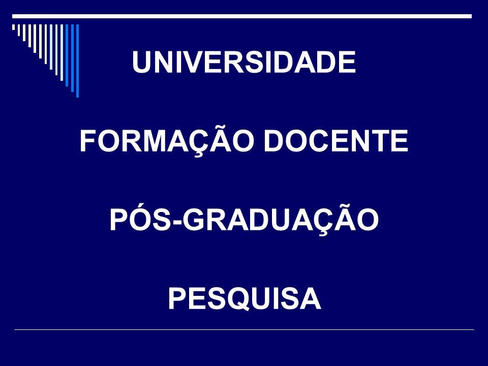 UNIVERSIDADE FORMAÇÃO DOCENTE PÓS-GRADUAÇÃO PESQUISA