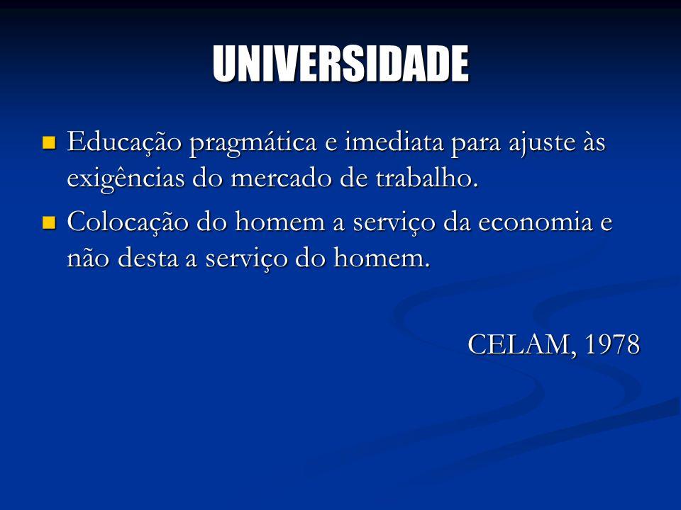 UNIVERSIDADE Educação pragmática e imediata para ajuste às exigências do mercado de trabalho. Educação pragmática e imediata para ajuste às exigências