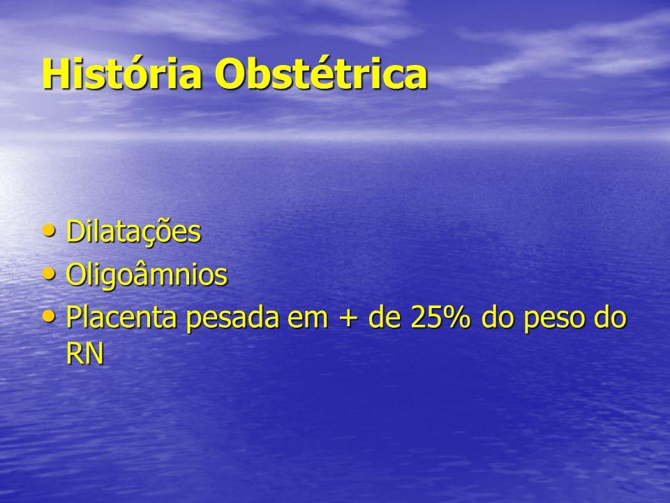 História Obstétrica Dilatações Dilatações Oligoâmnios Oligoâmnios Placenta pesada em + de 25% do peso do RN Placenta pesada em + de 25% do peso do RN