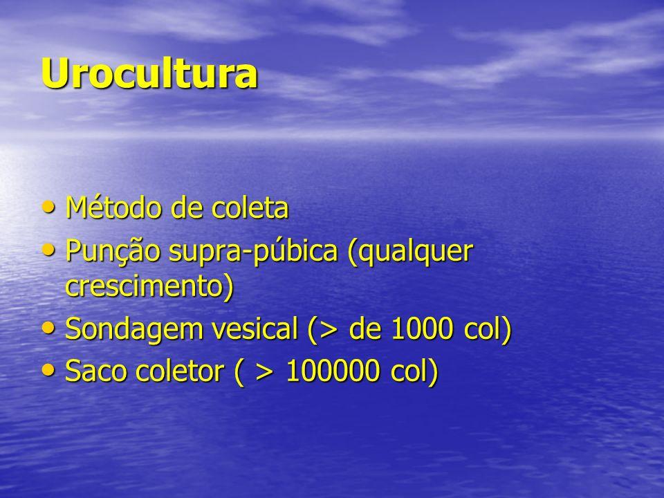 Urocultura Método de coleta Método de coleta Punção supra-púbica (qualquer crescimento) Punção supra-púbica (qualquer crescimento) Sondagem vesical (>