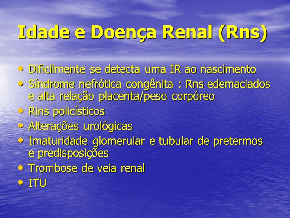 Idade e Doença Renal (Rns) Dificilmente se detecta uma IR ao nascimento Dificilmente se detecta uma IR ao nascimento Síndrome nefrótica congênita : Rn