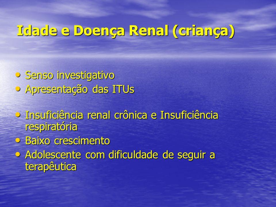 Idade e Doença Renal (criança) Senso investigativo Senso investigativo Apresentação das ITUs Apresentação das ITUs Insuficiência renal crônica e Insuf