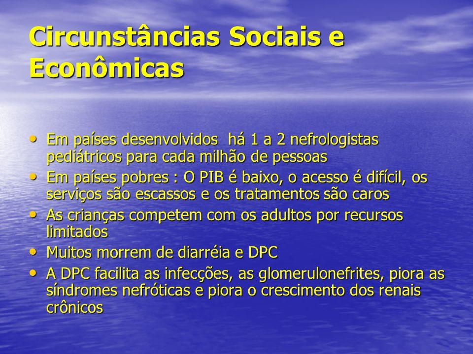 Circunstâncias Sociais e Econômicas Em países desenvolvidos há 1 a 2 nefrologistas pediátricos para cada milhão de pessoas Em países desenvolvidos há