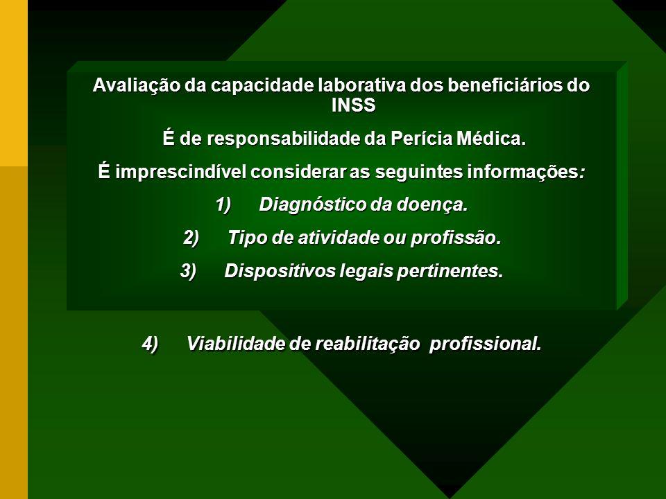 Avaliação da capacidade laborativa dos beneficiários do INSS É de responsabilidade da Perícia Médica. É de responsabilidade da Perícia Médica. É impre