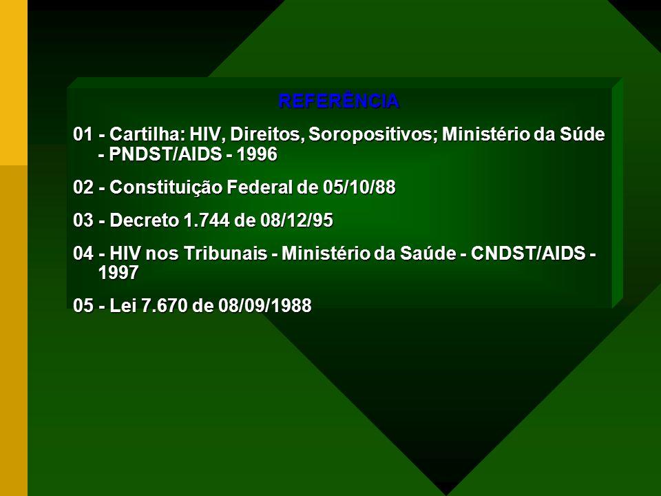 REFERÊNCIA 01 - Cartilha: HIV, Direitos, Soropositivos; Ministério da Súde - PNDST/AIDS - 1996 02 - Constituição Federal de 05/10/88 03 - Decreto 1.74