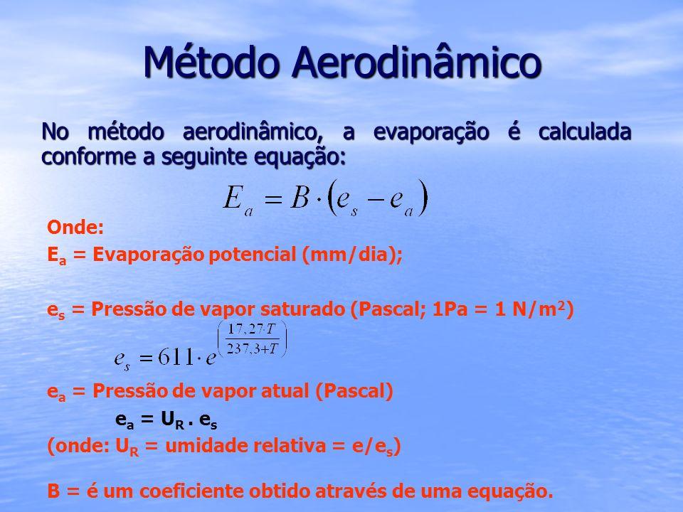 Método Aerodinâmico No método aerodinâmico, a evaporação é calculada conforme a seguinte equação: Onde: E a = Evaporação potencial (mm/dia); e s = Pre