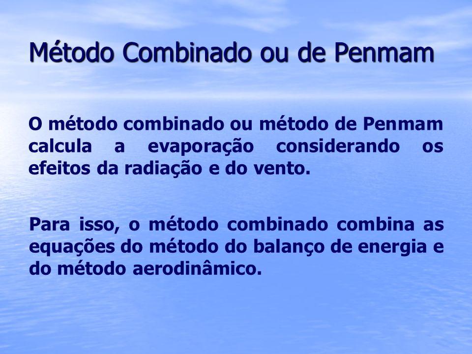 Método Combinado ou de Penmam O método combinado ou método de Penmam calcula a evaporação considerando os efeitos da radiação e do vento. Para isso, o
