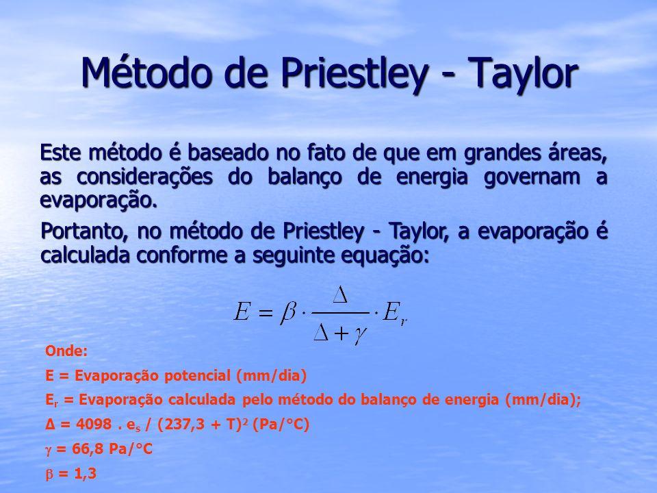 Método de Priestley - Taylor Este método é baseado no fato de que em grandes áreas, as considerações do balanço de energia governam a evaporação. Port