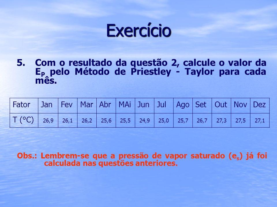 Exercício 5. 5.Com o resultado da questão 2, calcule o valor da E P pelo Método de Priestley - Taylor para cada mês. FatorJanFevMarAbrMAiJunJulAgoSetO