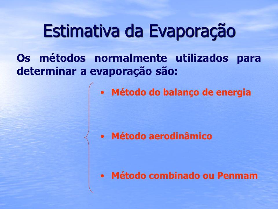 Estimativa da Evaporação Os métodos normalmente utilizados para determinar a evaporação são: Método combinado ou Penmam Método do balanço de energia M