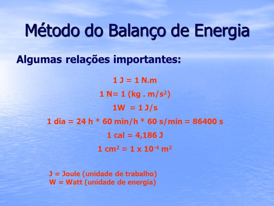 Método do Balanço de Energia Algumas relações importantes: 1 J = 1 N.m 1 N= 1 (kg. m/s 2 ) 1W = 1 J/s 1 dia = 24 h * 60 min/h * 60 s/min = 86400 s 1 c