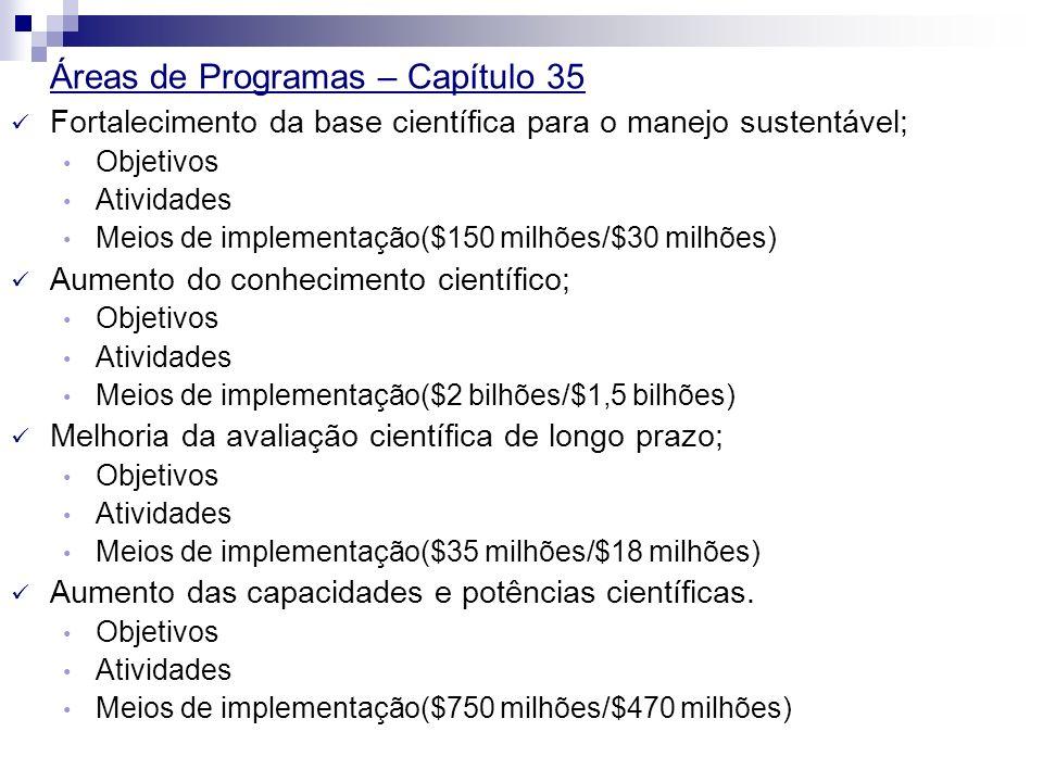 Áreas de Programas – Capítulo 35 Fortalecimento da base científica para o manejo sustentável; Objetivos Atividades Meios de implementação($150 milhões