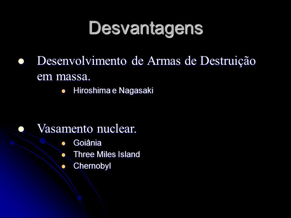 Desvantagens Desenvolvimento de Armas de Destruição em massa. Desenvolvimento de Armas de Destruição em massa. Hiroshima e Nagasaki Hiroshima e Nagasa