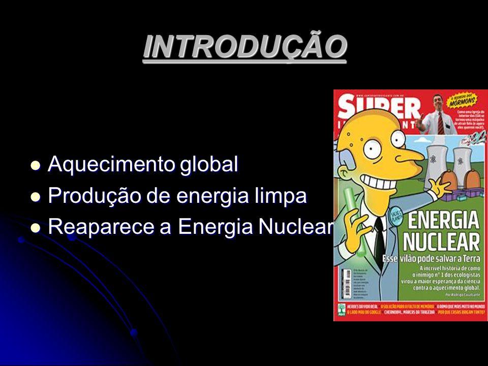 INTRODUÇÃO Aquecimento global Aquecimento global Produção de energia limpa Produção de energia limpa Reaparece a Energia Nuclear Reaparece a Energia N