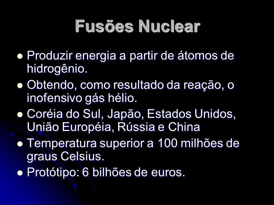 Fusões Nuclear Produzir energia a partir de átomos de hidrogênio. Produzir energia a partir de átomos de hidrogênio. Obtendo, como resultado da reação