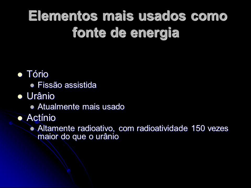 Elementos mais usados como fonte de energia Elementos mais usados como fonte de energia Tório Tório Fissão assistida Fissão assistida Urânio Urânio At