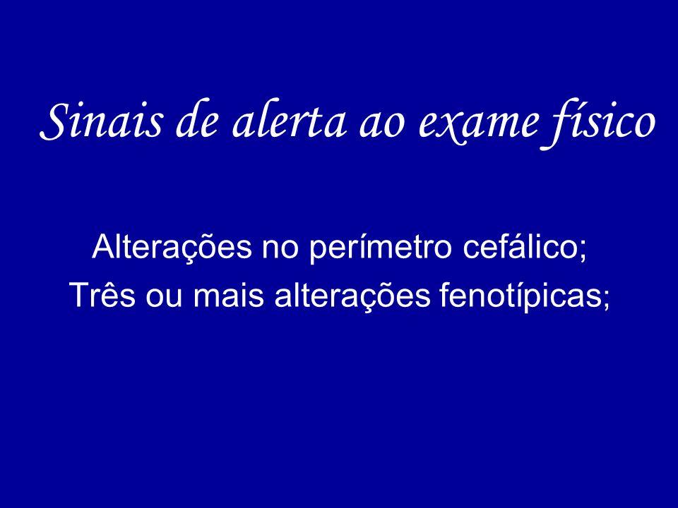 Sinais de alerta ao exame físico Alterações no perímetro cefálico; Três ou mais alterações fenotípicas ;